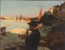 Eugene Louis Leopold Tripard, Fisherman overlooking the harbor in the evening sun