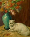 Mischa Askenazy, White cat by a vase of flowers