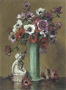 Herbert Davis Richter, White, red and purple anemones in a green vase