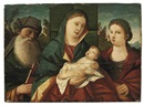 Follower Of Giovanni Bellini, The Madonna and Child with Saint Anthony Abbot and Saint Catherine, in a landscape