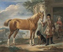 John Wootton, John Shafto of Bavington Hall, and Whitworth Hall, Northumberland, holding a hunter, in a landscape, with a groom and stable beyond
