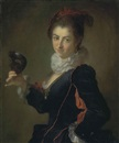 Alexis Grimou, Portrait of a lady, à l'espagnole, holding a black mask in her right hand