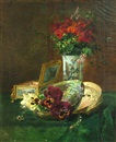 Gustave Emile Couder, A still life with pansies in a conch shell, flowers in a vase and a jewelry box