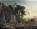 Pierre Antoine Patel, Pyrame and Thisbe in a wooded landscape with classical ruins