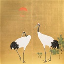 Attributed To Jypo Araki, Two cranes standing beside young pine saplings