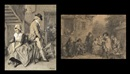 Jean Baptiste Madou, Le contrat de mariage (+ David Teniers fait une étude de musiciens, black chalk and brush, smllr; 2 works)