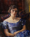 James Bolivar Manson, Portrait of a seated lady in a blue dress