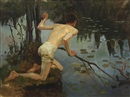 Albert Edelfelt, Young Man, study for the painting La Sirene (Young Man and Mermaid, 1897)