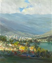 Larry Cohen, View of the Silver Lake reservoir and downtown Glendale