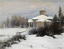 Vladimir Nikolaevich Pchelin, Winter landscape with a manor