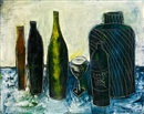 Sadanand K. Bakre, Untitled (Still life with bottles)
