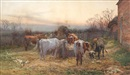 Charles James Adams, Feeding the cattle at sunset