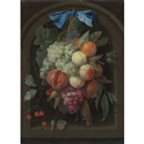 Joris van Son, Still life of grapes, peaches, a pomegranate and other fruit hanging from a nail before a stone niche