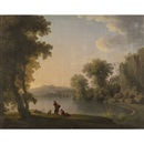 Follower Of William Ashford, Three fisherman resting alongside a lake