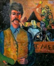 Ed Smith, Self portrait with harlequins (+ Portrait of a woman seated, verso)