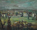 Raymond Thialier, Figure with market burrow and tressle table mefore Mediterranean landscape
