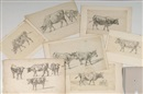 Jean Daniel Huber, Vaches (7 works, various sizes)
