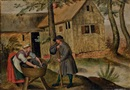 Attributed To Pieter Brueghel the Younger, Deux paysans devant une auberge