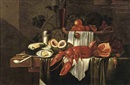 Circle Of Joris van Son, A lobster, a silver plate with oysters, peaches, grapes, a glass of red wine, a basket with various fruits and other objects, all on a partially draped table