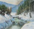 Harald Wentzel, Stream in winter mountain landscape