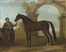 John Wootton, The Godolphin Arabian, held by a groom, in a landscape with a ruined arch