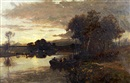 William Manners, River landscape at dusk with figures in a punt and cattle watering at the riverside