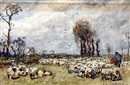 Frederick William Jackson, Shepherd and flock in a meadow