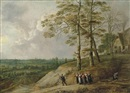 David Teniers the Younger and Lucas Van Uden, An extensive landscape with a bagpiper and other figures on a path, a farmhouse beyond