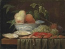 Joris van Son, Peaches in a porcelain bowl, with oysters, prawns, a crab, grapes and plums on a partly draped wooden table