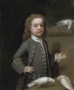 John Theodore Heins Sr., Portrait of Master Harry Spark Patterson (1725-1764) in a grey coat, feeding three doves on a ledge