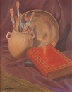 Edward Burns Quigley, A very early still life with book, paint brushes and bowl