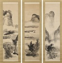 Tani Buncho, Landscape in black ink (3 works)