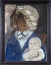 Anonymous-American (18), Portrait of Elizabeth Godwin Waldron and her child, Phoebe Waldron
