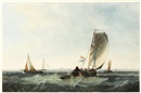 Robert Brandard, A Dutch pink and other boats off the coast