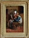 Henry Hetherington Emmerson, Reading the queen's letter (An elderly pitman and his wife seated at a fireside) (study)