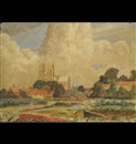 Francis Kenneth Elwell, View of Beverley Minster across other buildings and trees