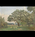 Francis Kenneth Elwell, Beverley Westwood with sheep and trees in the foreground, St Mary's Church in the distance