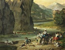 Anonymous-European (18), Landschaft mit Fluss und figuraler Staffage