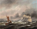 Govert van Emmerik, Two boats in stormy weather, the shore in the distance