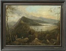 Attributed To Victor de Grailly, The Hudson River with a view of the Catskill Mountain House