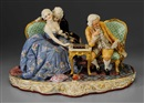 Fabris-Milano, Figures in 18th century French attire playing checkers, reading book or pursuing amorous interests