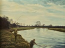 William Ellis Barrington-Browne, Looking towards the Weir, Careysville, River Blackwater (+ Landing a fish, Careysville, River Blackwater; pair)