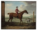 "John Wootton, ""Brockelsby Betty"" with jockey up at Newmarket, before her celebrated match with Astridge Ball, 7 October"