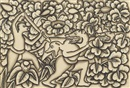 I Sukadi, Man drives spear into haunch of forest-creature which is attacking another man, another creature looks on