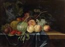 Follower Of Paul Liegeois, Nature morte aux framboises sur un drapé bleu