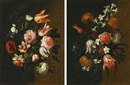 Circle Of Mario Nuzzi, Still lifes with tulips, roses and other flowers tied in bunches (pair)
