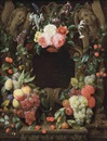 Joris van Son, Pink roses, blackberries, figs, plums, grapes, cherries and other fruits and flowers surrounding a stone cartouche with sculpted angels