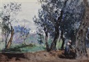 Frederick William Jackson, Maid working in woodland on a hillside (Italy?)