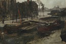 George Hendrik Breitner, The Kalkmarkt in winter, Amsterdam