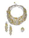 Adler, Demi-parure comprising a bib necklace of geometric shapes, a pair of pendent ear clips of matching design and a ring (set of 3)